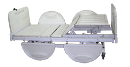 Adjuatable ABS bed with side safety board.