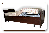 Semi Metal Bed having Wooden frame at outer to match room interior.